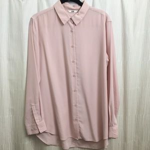 Uniqlo Pink Long Sleeve Blouse